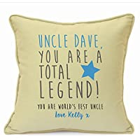 Personalised Presents Gifts For Uncle Mentor Teacher Baby Sitter Family Friends Birthday Christmas Xmas Party Worlds Best True Legend Inspirational Quotes Cushion Cover 18 Inch 45 Cm