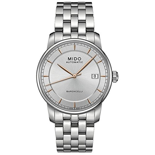 Mido Unisex Analogue Watch with Silver Dial Analogue Display and Stainless steel plated gun metal - M86004101