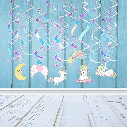 (Sayala 12 STK.Hängedekoration -Einhorn Themen- Geburtstag Deckenhänger Spiral Girlanden für Kinderparty Junge und Mädchen Geburtstags Dekoration)