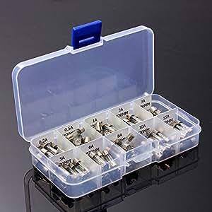Tinksky 100pcs 5x20mm Fast-souffler le verre fusibles voiture verre Tube fusibles assorties Kit