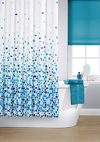 vibrant mosaic blue on a white background polyester shower curtain including 12 white shower curtain rings by waterline