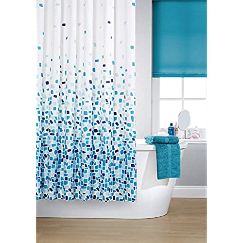 white and navy shower curtain. Vibrant Mosaic Blue On A White Background Polyester Shower Curtain  Including 12 Rings By Waterline Teal Amazon Co Uk