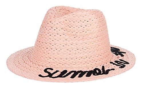 EOZY Sombrero Panamá Sombrero Ala Ancha de Sol Rosa
