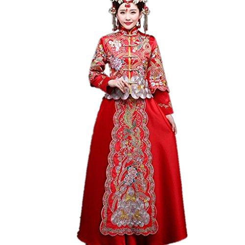 HUA Xiu rosso vestito cinese abito da sposa da sposa d'epoca vestito sposato brindisi abbigliamento (Brindisi Sposa Sposo)