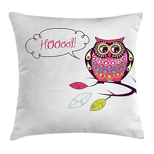 illow Cushion Cover, Ornate Colorful Owl on The Branch Observing Flat Face Myst Animal Artsy Image, Decorative Square Accent Pillow Case, 18 X 18 Inches, Pink Purple White ()