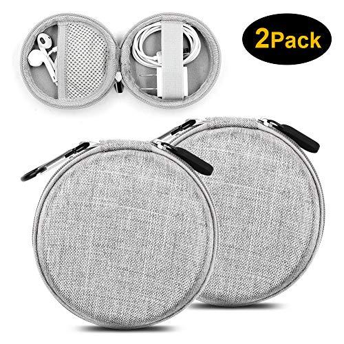 Mini Kopfhörer Tasche mit Schnalle, YOLOCE Headset ohrhörer Schutztasche für In Ear Ohrhörer, MP3 Player, iPod Nano, Schlüssel, Lovely Macarons Aussehen (Round-Grau) - 2er Pack -