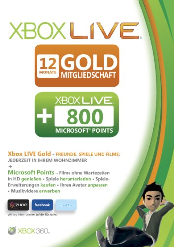 Xbox 360 - Live Gold 12 Monate + 800 Punkte (Xbox Live Gold Für Xbox 360)