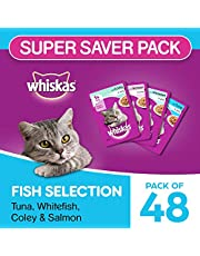 Whiskas Adult ( 1+ Year ) Wet Cat Food , Fish Selection (Salmon, Coley, Tuna, Whitefish) Monthly Pack – 85g (4.08 kg, 48 Pouches)