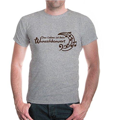 buXsbaum® T-Shirt Das Leben ist kein Wunschkonzert Heathergrey-Brown