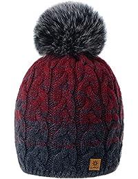 f90b4feae73c2 MFAZ Morefaz Ltd Mujer Hombres Beanie Sombrero De Invierno de Las con  Pompón Esquí de Moda