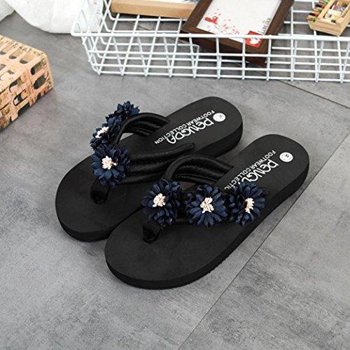 Sandali Piani Era Vibrazione Sovradosaggio Pistoni Blu Infradito Fiori Casuale Di Cadute Donna Di Spiaggia Pantofole Piana XIzgt