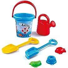 Spielzeug Großhandel & Sonderposten 1 x Sandeimer Sandspielzeug-Set 7 tlg Strandspielzeug Sieb Förmchen Gießkanne