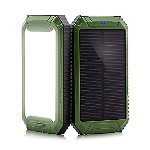 Power Bank, PowerGreen Solar Charger with 32LED Flashlight 10000mAh Solar Power Bank Dual USB External Battery Pack for 5V Digital Mobile Devices