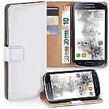 moex Samsung Galaxy S4 Mini | Hülle Weiß mit Karten-Fach 360° Book Klapp-Hülle Handytasche Kunst-Leder Handyhülle für Samsung Galaxy S4 Mini Case Flip Cover Schutzhülle Tasche