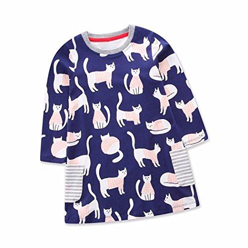 TPulling Mode Frühling Sommer Mädchen﹛2T-6T﹜Kinder Nette Katze﹛Druckt Streifentaschen﹜Lange -