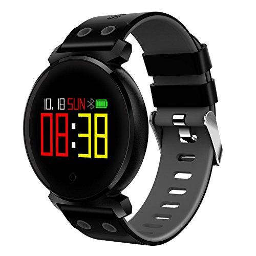 Nuovo smart k2 touch schermo a colori rotondo ip68 impermeabile monitoraggio della frequenza cardiaca monitoraggio della pressione sanguigna sport bluetooth tracker attività con ios8.0 e android 4.4 , black duwin