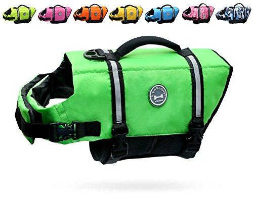 VIVAGLORY Hundeschwimmweste Doggy Float Coat Wassersport Schwimmhilfe Rettungsweste für Hunde Haustier Mit Griff und Reflektoren, Neon-Grün, S