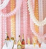 Lot de 6 guirlandes réutilisable à suspendre, papier de soie, fleur trèfle à quatre feuilles, serpentins, décoration de fête, de Noël, de mariage (3m de long chacun)