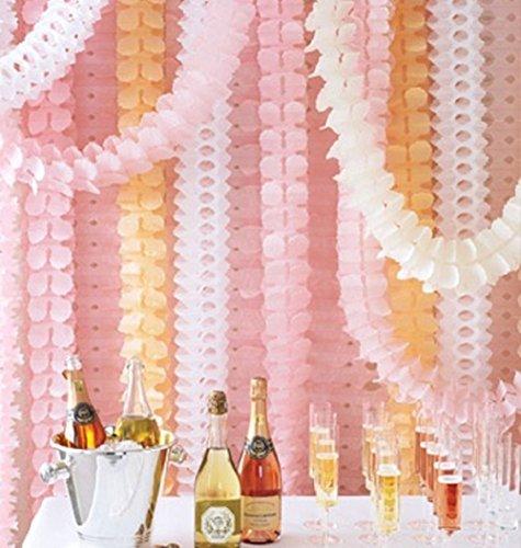 (Niceclub Wiederverwendbare Girlande, vierblättriges Seidenpapier, Blumen, Partyschlangen für Weihnachten, Party, Hochzeit, Dekorationen (3 Fuß/3 m lang), 6 Stück pink & peach & white)