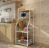 LXSnail Küche Regale Stock Stau Metall Lagerregale Mikrowelle Backöfen Gewürze Lagerregale (Farbe : Weiß)