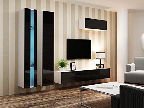 Wohnwand VIGO NEW1, Anbauwand, Wohnzimmer Möbel, Hochglanz !!! Mit LED Beleuchtung !!!