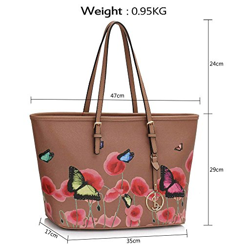 Trend Star woman designer handbag ladies fashion patent tote bag (D - Black / White) G - Nude