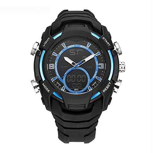 MIAO Outdoor Mens Multi-Functional Dual-Motion 50 Meter wasserdicht elektronische Uhr mit 24-Stunden-Anleitungen/Woche Display/Alarm/Kalender/Chronograph/month Display , blue (Alarm Electric Uhr Shock)