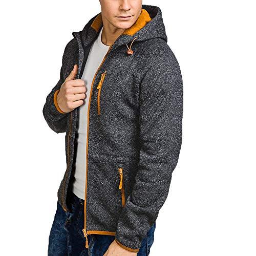 KUDICO Herren Hoodies Jacke Mantel Klassische Langarm-Reißverschluss-Tasche mit Kapuze Outwear Cardigan Tops(Schwarz, XL)