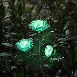 Rosas con luces solares LED para decoración de exteriores, Verde