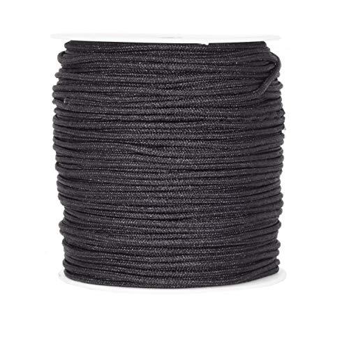 Mandala Crafts Jalousienschnur, Ersatz aus geflochtenem Nylon für RVs, Fenster, Schatten und Rollen 2mm schwarz (Papier-mini-jalousien)