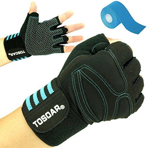 Fitness Handschuhe TOSOAR Trainingshandschuhe mit Bandage Adjustable Handgelenkstütze für Krafttraining Gewichtheben Bodybuilding Schutz vor Hautabschürfung und Prall und Safe Geleinlage Silica Palm Kinesiologie Tape (Mikrofaser Leder blau, XL)