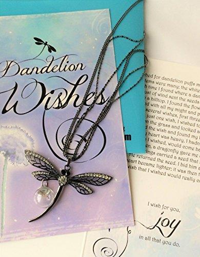 Smiling Weisheit–Pusteblume Schwarz Libelle Wishes Geschenk Set–Schwarz Libelle Halskette mit 3Ständer Kette mit Dandelion Seed Orb–Für Frauen, Teens–Schwarz (Orb Pendant Necklace)