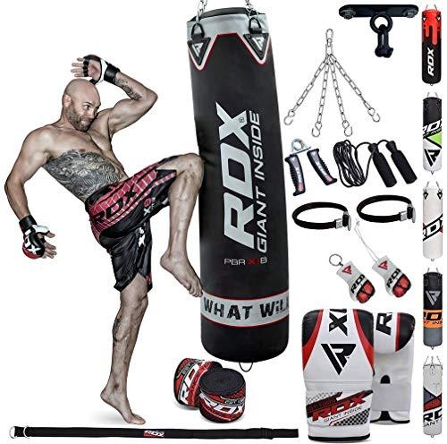 RDX 13PC Sac de Frappe 4FT 5FT Rempli Lourd Punching Ball MMA Muay Thai Kickboxing Arts Martiaux Kit Boxe avec Gants Chaine Suspension Support Plafond Punching Bag