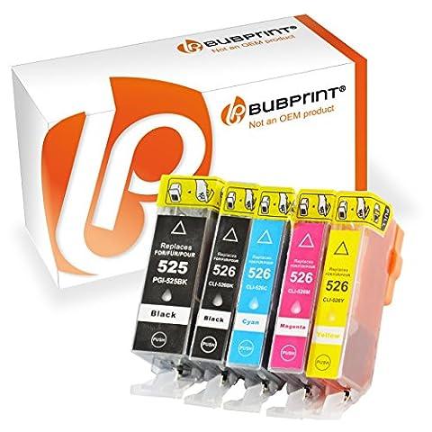Bubprint 5 Druckerpatronen mit neuem CHIP kompatibel für Canon PGI-525 CLI-526 Canon Pixma IP4850 , MG5120 , MG5150 , MG5250 MG6120 , MG6150 , MG8120 , MG8150