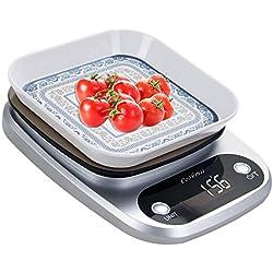 Cookmii Bilancia da Cucina Elettronica Con Ciotola in Acciaio Inox Capacità 10kg/ 22lb Bilancia Digitale (Batterie Incluse) (Argento)