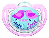 NUK Freestyle Sucette avec Décor Oiseaux pour Fille Rose/Bleu 6-18 Mois Taille 2
