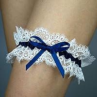 Giarrettiera di pizzo matrimonio sposa biancheria intima regali de nozze addio al nubilato blu bianco