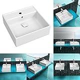 BTH: 46x46x15,5 cm | Korpusbad® Aufsatzwaschbecken München101z aus Keramik | mit Überlauffunktion | Waschbecken Waschtisch Waschplatz Handwaschbecken Hängewaschbecken