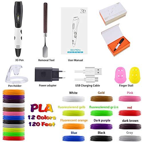 3D Pen + PLA Fliament Set, Lovebay 3D Stift mit LCD-Bildschirm + 12 Farben je 3,1M, Φ1,75 mm 3d Filament – insgesamt 120 Feet, DIY Geschenk für Kinder Anfänger Erwachsene Zeichnung, kompatibel mit 1,75 mm ABS/PLA 3D Printing Material - 2