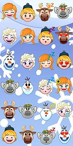 (Disney Frozen Emoji Strandtuch Badetuch Handtuch, 70 x 140 cm, Art. 7694)