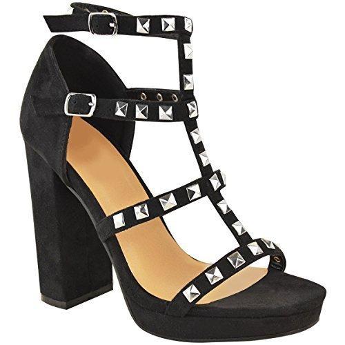 Damen Riemensandalette mit hohem Blockabsatz & Nieten Schwarz Veloursleder-Imitat