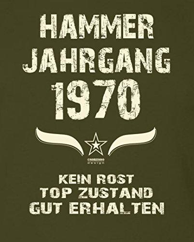 Geschenk Set : Geschenkidee 47. Geburtstag ::: Hammer Jahrgang 1970 ::: Herren T-Shirt & Urkunde Geburtstagskind des Jahres für Ihren Papa Vater ::: Farbe: schwarz Khaki