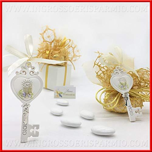 Ingrosso e risparmio 6 chiavi ad appendino in resina con simboli prima comunione e scritta gioia con ciondolo bomboniere segnaposto (senza confezionamento)