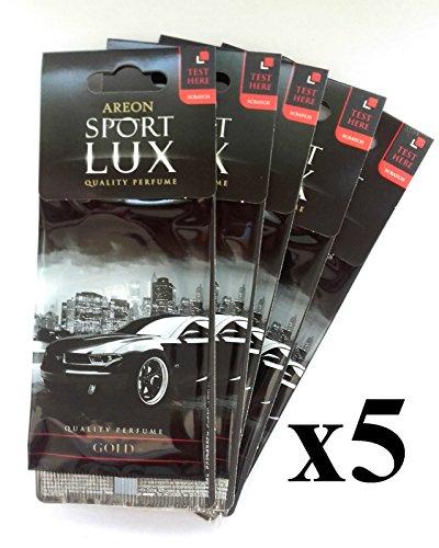 """Areon - Sport Lux, eccellente deodorante per auto, confezione da 5 cartoncini, qualità """"oro"""""""