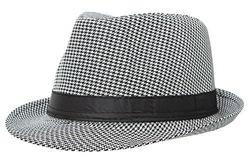 La Vogue Houndstooth Fedora Trilby Hat for Men