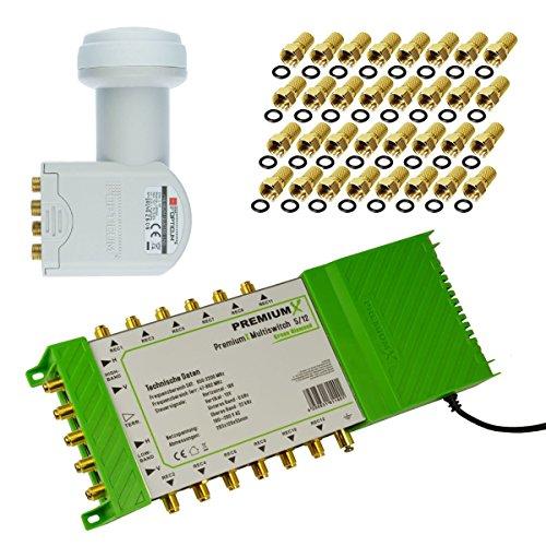 Multischalter PM-ECO 5/12 PremiumX Green Diamond Multiswitch mit Netzteil 1xSat für 12 Teilnehmer FullHD HDTV 3D + LNB Quattro Opticum LRP-04H 0,1dB + 32x F-Stecker