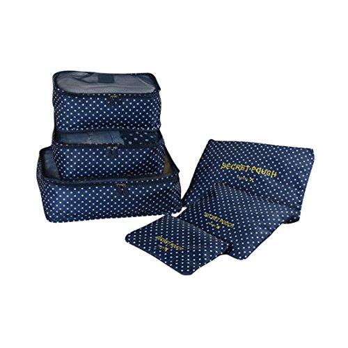 Schönes Leben* 6 teilig Reise Aufbewahrungstaschen Koffertaschen Packtaschen für Kleidung Schuhe Handtücher Koffer Organizer Reise Organizer Set (Dunkelblau-Punkte)