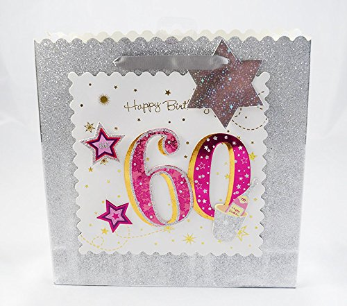Happy 60th Birthday Gift Bag Silver Glitter 3D Pink Luxury Milestone Age Female
