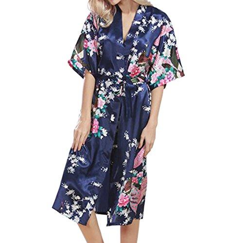 Hzjundasi Frauen Plus Größe Schlafanzüge Seide Kimono Robes Pfau Drucken Kurzarm Nachthemd Satin Nachtwäsche Langer Stil Bademantel Morgenmantel (Seide Größe Plus Bademantel)