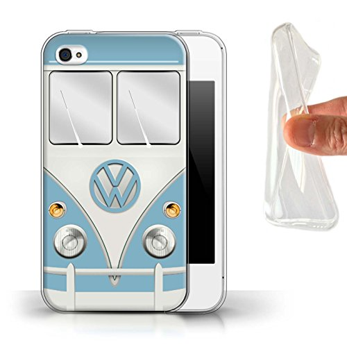 Stuff4 Gel TPU Hülle / Case für Apple iPhone 4/4S / Fjord Blau Muster / Retro T1 Wohnmobil Bus Kollektion Fjord Blau